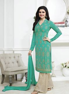 Prachi Desai Turquoise Georgette Palazzo Style Salwar Suit 89013