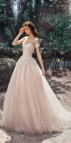 18 Lovely And Gorgeous Milva Wedding Dresses ❤ blush a line with embroidered lace strapless sweetheart milva wedding dresses ❤ Full gallery: https://weddingdressesguide.com/milva-wedding-dresses/
