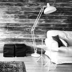 Detail from our livingroom, a wall covered with treated spruce. Floorlamp from Lagerhause, DLM tables from Hay, Teo Jasmin Pillow from Svensson i Lammhult and persian carpet made by my great grandmother