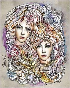 "Zodiac illustration ""GEMINI"" by balabolka, via Behance Find out more about #Gemini: www.theAstrologer.com/Gemini"