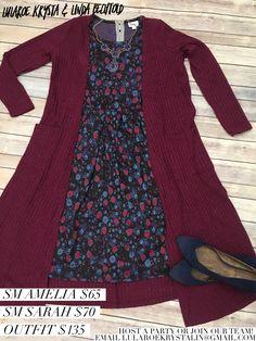 Jacquard Floral Amelia Dress + Cranberry Sarah Cardigan Duster Sweater  LuLaRoe Outfit Inspiration Flat Lay Photography Fashion 2017