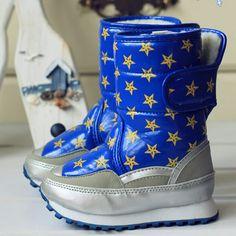 Discount Blue Leather Little Junior Girls Kids Boys Winter Snow Boots SKU-133127