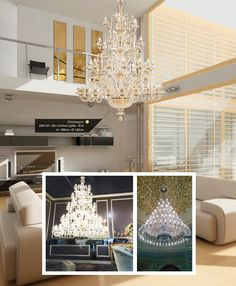Chandelier : Makatea (650135) from Iris Cristal Colors Available: Clear, Champagne, Honey, White, Black, Fume, Purple Lamps: 20+12+8+6 lights H:190 Cms. D: 120 Cms.