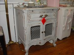 grey antique painted nightstand furniture table #homedecor #paintedfurniture #antique http://www.camillesantiqueboutique.com/antiques.html