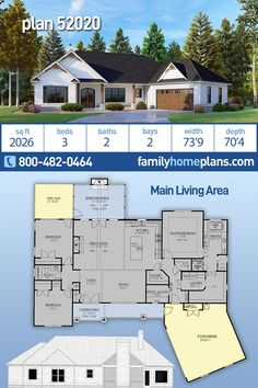 Craftsman House Plan 52020 with 3 Beds, 2 Baths, 2 Car Garage House Plans One Story, Small House Plans, House Floor Plans, Rustic Loft, Rustic Cottage, Office Nook, Closet Office, Walk In Closet, Craftsman Style House Plans