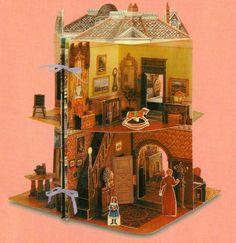 Three Demensional Pop Up Victorian Doll House. $18.00, via Etsy.