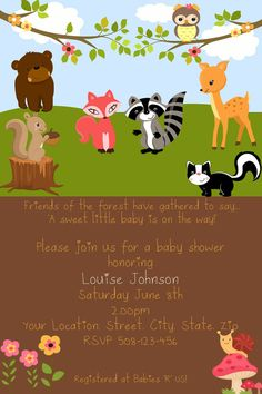 Woodland Forest Friends Baby Shower by SandInMyShoesDesigns, $10.00