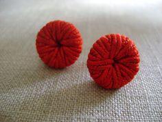 stud earrings vintage fabric button earrings handmade by whoop, $10.00