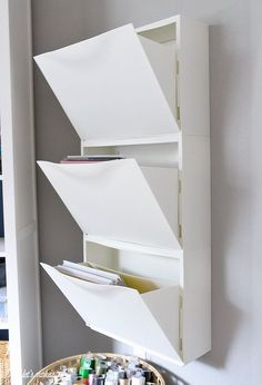 ikea hack trones shoe holder for paper storage, home office, organizing, repurposing upcycling, storage ideas