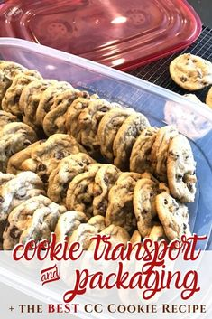 The easiest and best way to carry, ship and store your Chewy Chocolate Chip Cookies for a team feed, potluck, school party! Plus cookie dough packaging ideas. Recipe and tips via @thefreshcooky | #chocolatechipcookies #chewy #cookiepacking #teamfeed #shipping #highaltitude #cookietransport #best #easyrecipe
