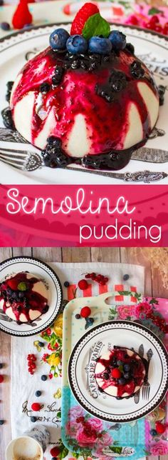 Semolina pudding with blueberry jam and fresh berries, a real delight that's super easy to make. Sicilian Recipes, Turkish Recipes, Greek Recipes, Semolina Pudding, Semolina Cake, Romanian Food, Romanian Recipes, Blueberry Jam, Blueberry Delight