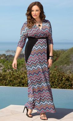 Check out the deal on Moroccan Maxi Wrap Dress at Kiyonna Clothing