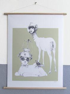 canvas poster Space Deer XL kunst voor aan de muur zwart