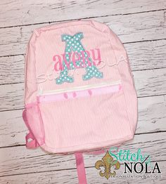 Pink Seersucker Backpack with Letter Applique - pinned by pin4etsy.com