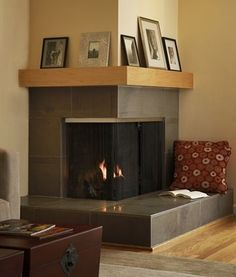 Corner fireplace and mantel