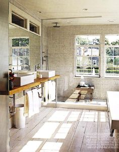 OK the big windows in the shower, uh NO! but the vessel sinks on the rustic timber, the high windows over the mirror and a large (make it no barrier) shower and YES!