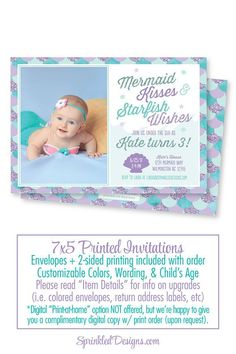 Mermaid Birthday Invitation, Photo Invites, Photo Card, Mermaid Birthday Party - Aqua Teal Purple Glitter Watercolor Mermaid Invitations - SprinkledDesigns.com