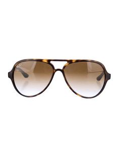 Brown Ray-Ban tortoise shell aviator sunglasses with gradient lenses and logo at temples. Includes case.