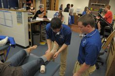 Students in the athletic training and pre-physical therapy programs get hands-on experience.