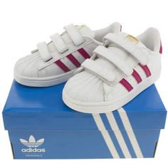 Girls White & Pink Adidas Superstar Foundation Toddler Trainers