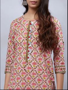 Buy White Pink Hand Block Printed Cotton Mulmul Suit- Set of 3 onlin e at Theloom Salwar Neck Designs, Kurta Neck Design, Neck Designs For Suits, Kurta Designs Women, Dress Neck Designs, Designs For Dresses, Blouse Designs, Printed Kurti Designs, Kurta Style
