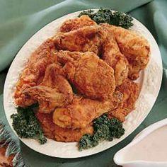... Buttermilk fried chicken, Sauteed zucchini and Greek chicken skewers