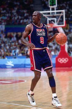 Michael Jordan in the 1992 Olympic Games wearing the Air Jordan VII.