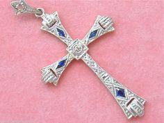ANTIQUE ART DECO .04ctw DIAMOND .12ctw SAPPHIRE PLATINUM CROSS PENDANT 1930 www.MelsAntiqueJewelry.com