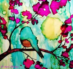 Whimsical Bird on a Branch~Giclée Print of My Orignal Alcohol Ink Painting