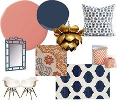 Guest room ... coral, navy, white