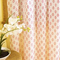 Decorative Beautiful hand Block Printed pink sheer Curtain