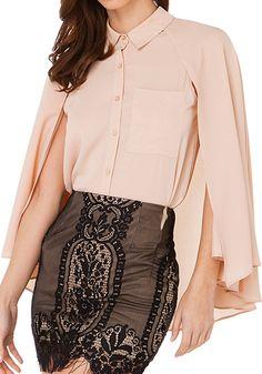 Nude Pink Plain False 2-in-1 Cape Fashion Chiffon Blouse