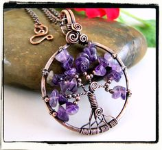 Pendant Tree of Life Copper Purple Amethyst with Chain