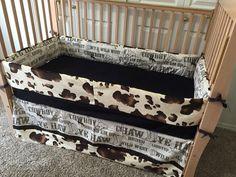Western Crib Bedding Cow Print Set Brown Cowboy Baby