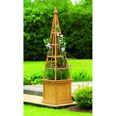Wooden Garden Obelisk Flower Planter