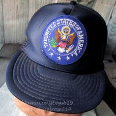 07d9ce09ddd Vintage United States of America Seal Patch Mesh Snapback Trucker Hat Cap  USA
