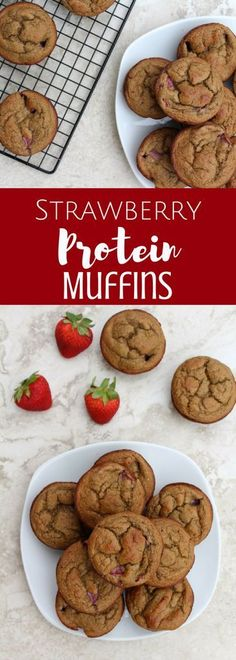 Strawberry Protein Muffins are packed with protein and fresh berries – making these the perfect simple healthy breakfast or snack.