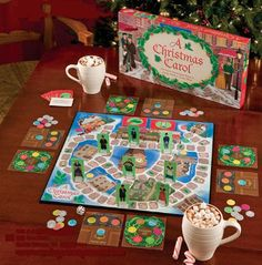 A Christmas Carol Board Game. In this trivia/simple board game combination, you can choose to be one of the characters from Dickens's classic novel, and race to the center of the board. Perhaps you can have some major life realizations along the way. Christmas Carol Book, Christmas Post, Christmas Books, Christmas Music, Christmas Themes, Vintage Christmas, Christmas Store, Christmas 2017, Christmas Traditions