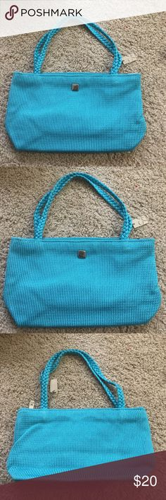 """Lina turquoise small handbag Vibrant and fu Lina turquoise small handbag with two braided matching straps, dimensions 9"""" x 6"""" x 3"""" straps 16"""" long 1/2"""" wide and 7"""" drop. Lina Bags Mini Bags"""