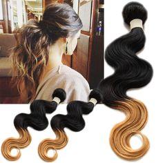 Ombre Dip-dye Two(2) Tone Brazilian remy Human Hair Extension  BODY WAVE 1b27# #WIGISShair #bodywave