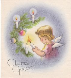 Vintage Christmas Card Angel Lights Candles on Tree 1940s Angels | eBay