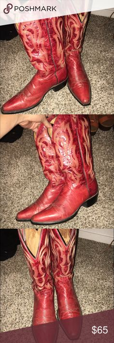 Real genuine cowboy boots One of my favorite Red cow boy boots. They're a Shyanne snip toe, they have a worn look. About a year old. Still have a few more miles left. Very cute boots. They have leather soles. Fits true to size shyanne Shoes Heeled Boots