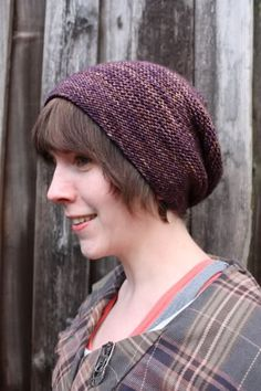 Slouchy hat designed for DK weight yarn in a variegated colourway. Lovely.