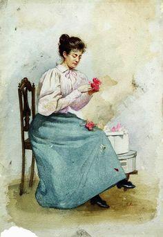 """Девушка с цветами"". Маковский Константин."