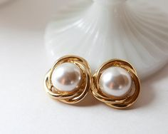 Metal earrings, gold, gold and white, pearl, clip on earrings, antique earrings…