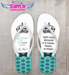 Chinelo 15 Anos Keep Calm Tiffany Personalizado COD 3146