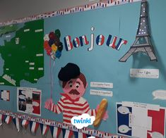 Homemade Printer Printing Calm And Learn French Videos Classroom Display Boards, Classroom Displays, Classroom Themes, French Teacher, Teaching French, French Classroom Decor, France For Kids, French Crafts, Display Banners