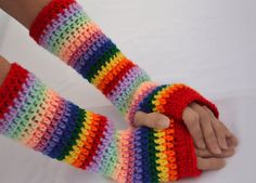 Rainbow stripes Fingerless gloves long arm by ValkinThreads, $25.00 #accessories #fashion #style #crochet #winter #rainbow #armwarmers