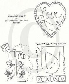 Valentine Ornie stitchery epattern...primitive by chestnutjunction, $1.99