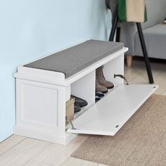 Haotian White,White Storage Bench with Removable Seat Cushion, Bench with Storage Chest, Shoe Cabinet Shoe Bench Bed Bench Storage, Hallway Shoe Storage Bench, Hall Bench With Storage, Hallway Seating, Hallway Bench, Shoe Storage Cabinet, Entryway Storage, Storage Chest, Shoe Storage Bench Seat